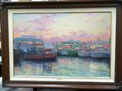 THOMAS KINKADE Painting FISHERMAN WHARF SAN FRANCISCO
